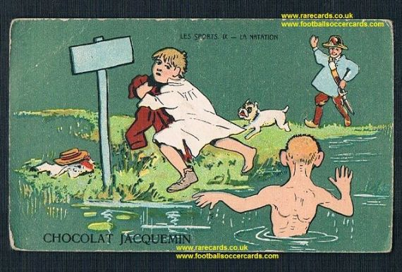 1900 Chocolate Jacquemin natation swimming bathers pool boys dogs police antique French card